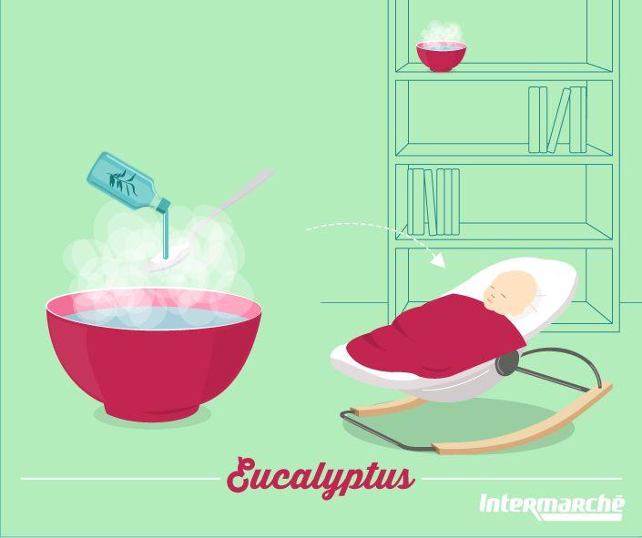 Pour aider Bébé à mieux respirer la nuit lorsqu'il a le nez bouché, mettez une cuillère à café d'huile d'eucalyptus radiata dans un bol d'eau bien chaude et placez-le dans la chambre une heure avant le coucher de votre petit bout. Pensez bien à retirer le bol une fois votre loulou au lit ! #Astuce #Bébé #Intermarché
