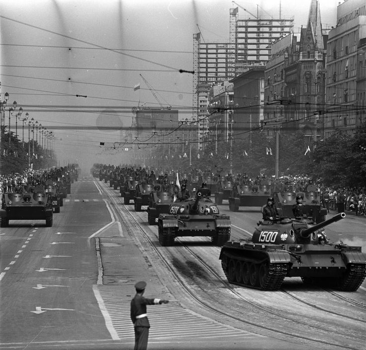 Polish People`s Army T-55 tanks and OT-62B armoured personnel carriers on the streets of Warsaw.