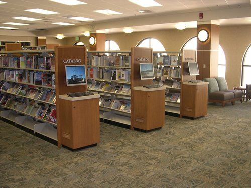 Steel Library Shelving With Custom End Panel Opac Stations