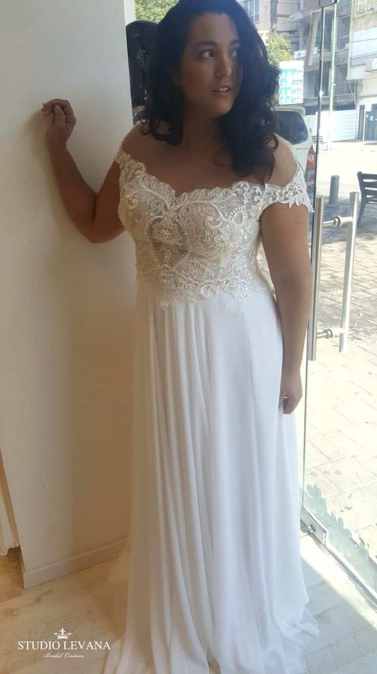 Plus size wedding dress with off shoulder sleeves and chiffon skirt. Valentina. ...