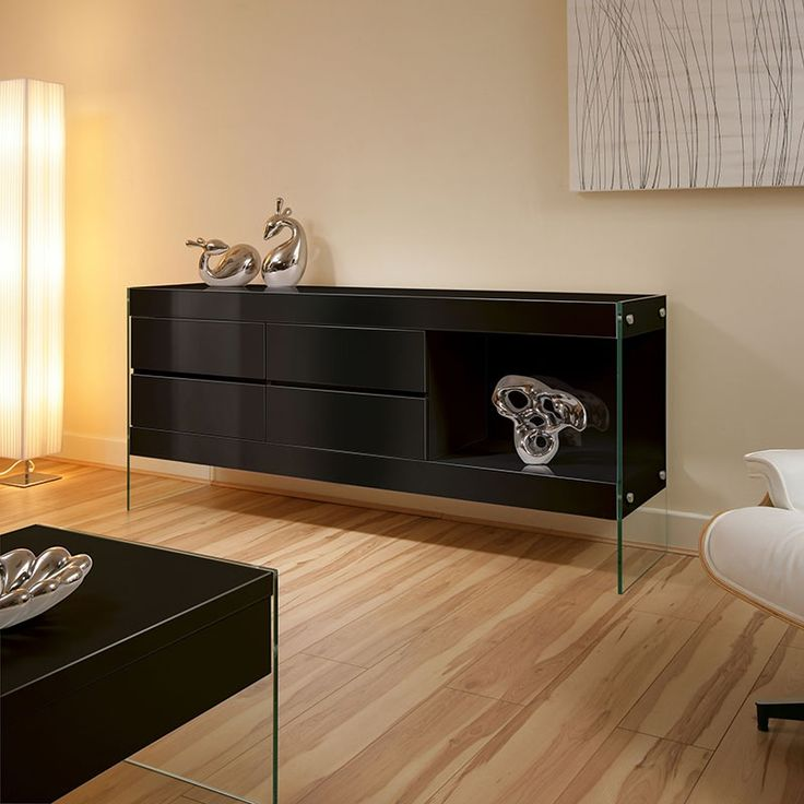Black Sideboard with Glass Legs.  100mm Deep Top.