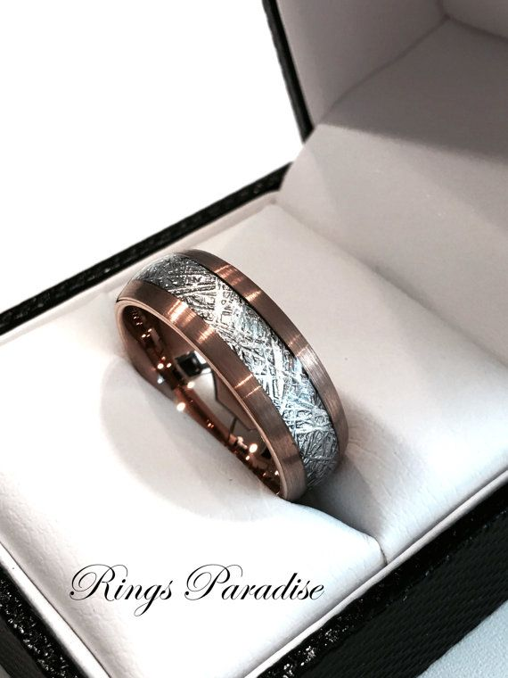 Brushed Meteorite Inlay Ring, Engagement Rings, His and Hers, Rose Gold Wedding…