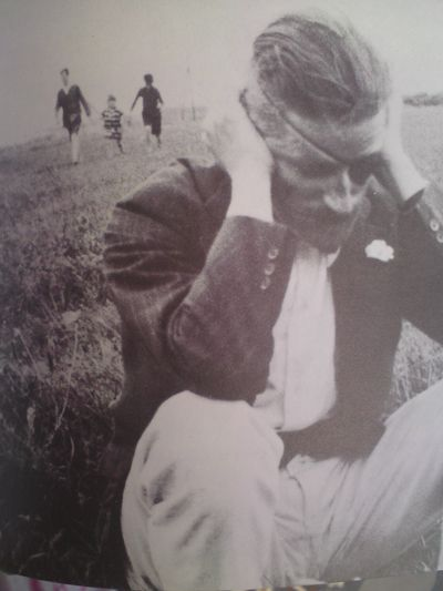 Love this image of James Joyce, South of France, 1922. He was losing his sight and you can feel the emotional pain in this dramatic image.