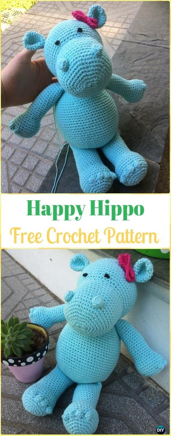 Crochet Amigurumi Happy Hippo Free Pattern - Amigurumi Crochet Hippo Toy Softies Free Patterns