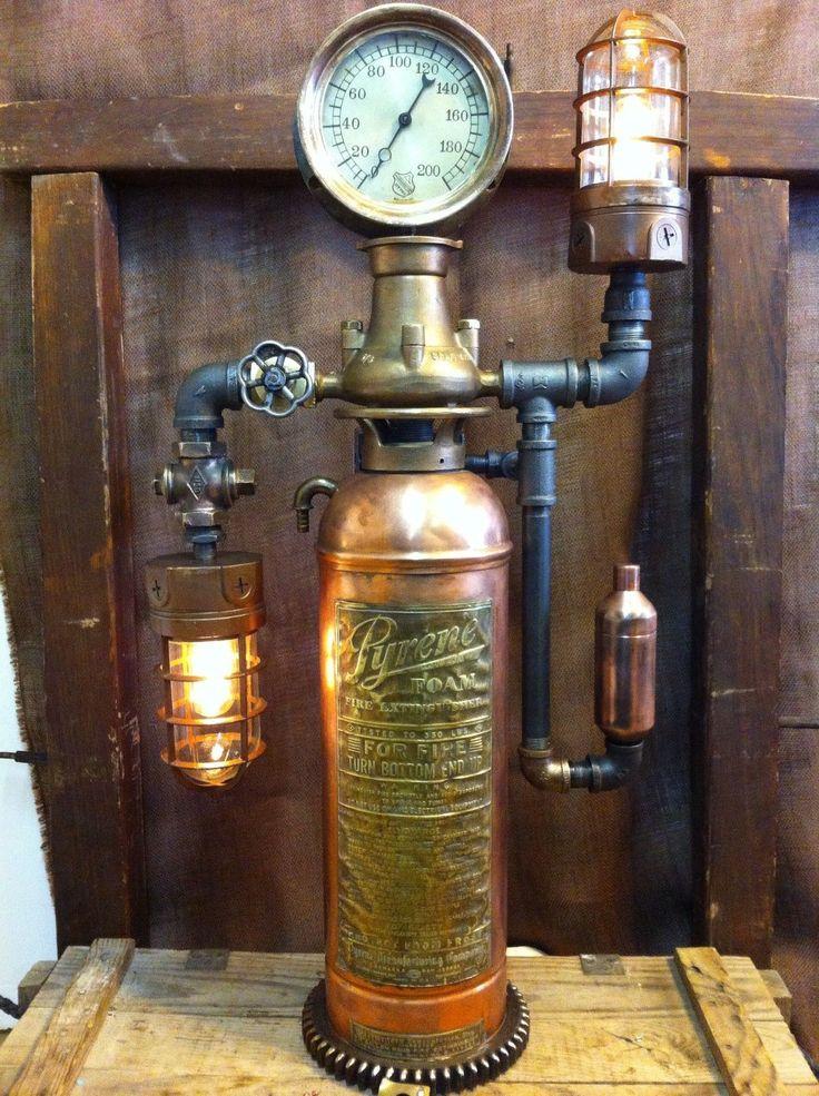 Steampunk Lamp Steam Gauge Vintage Copper Fire Extinguisher Lamp Industrial Art | eBay