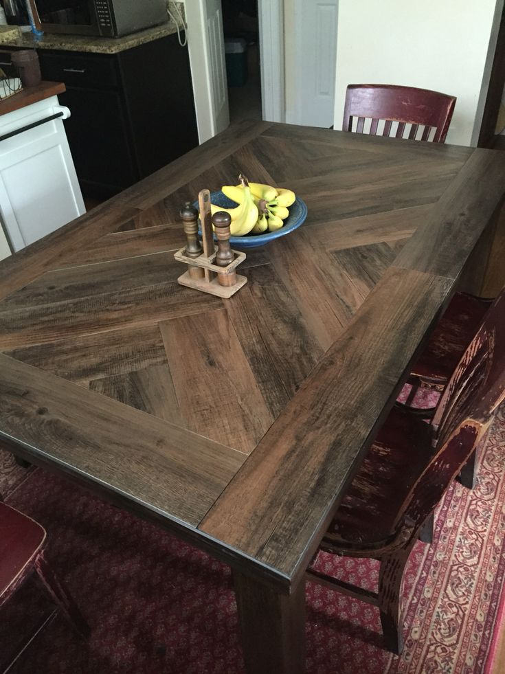 Vinyl Peel And Stick Planks On Table Top For Durability Style Sections Antique Woodland Oak Glass Dining Room