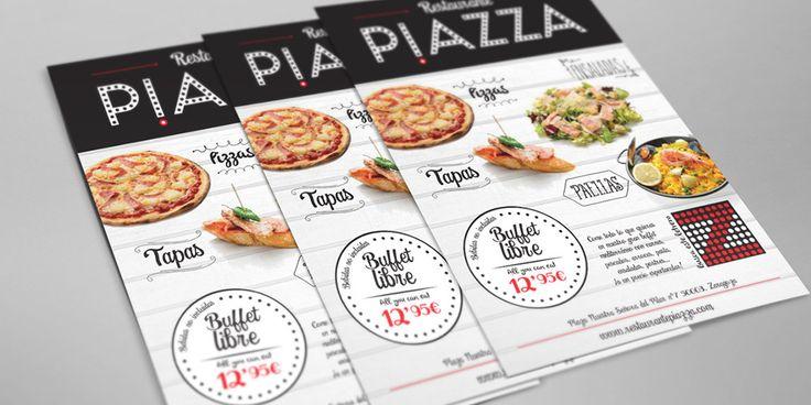 UN NUEVO CONCEPTO PARA UN BUFFET CON ESTILO PROPIO. Diseño de flyer promocional para el restaurante Piazza de Zaragoza.