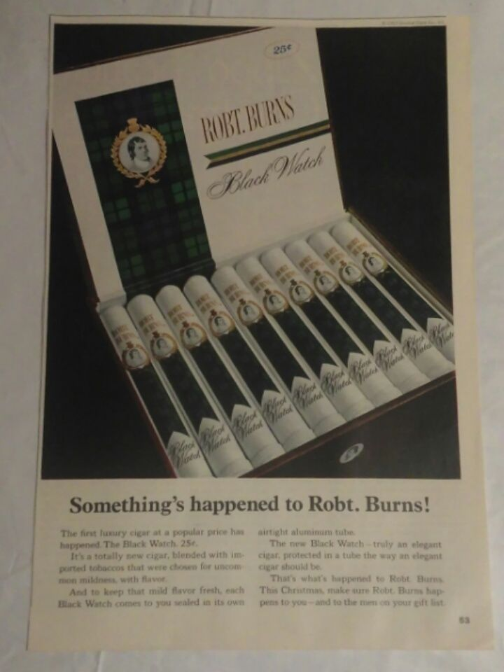 Vintage 60's Robt. Burns Magazine Print Ad picture Home Decor Smoker Collector #ROBTBURNS