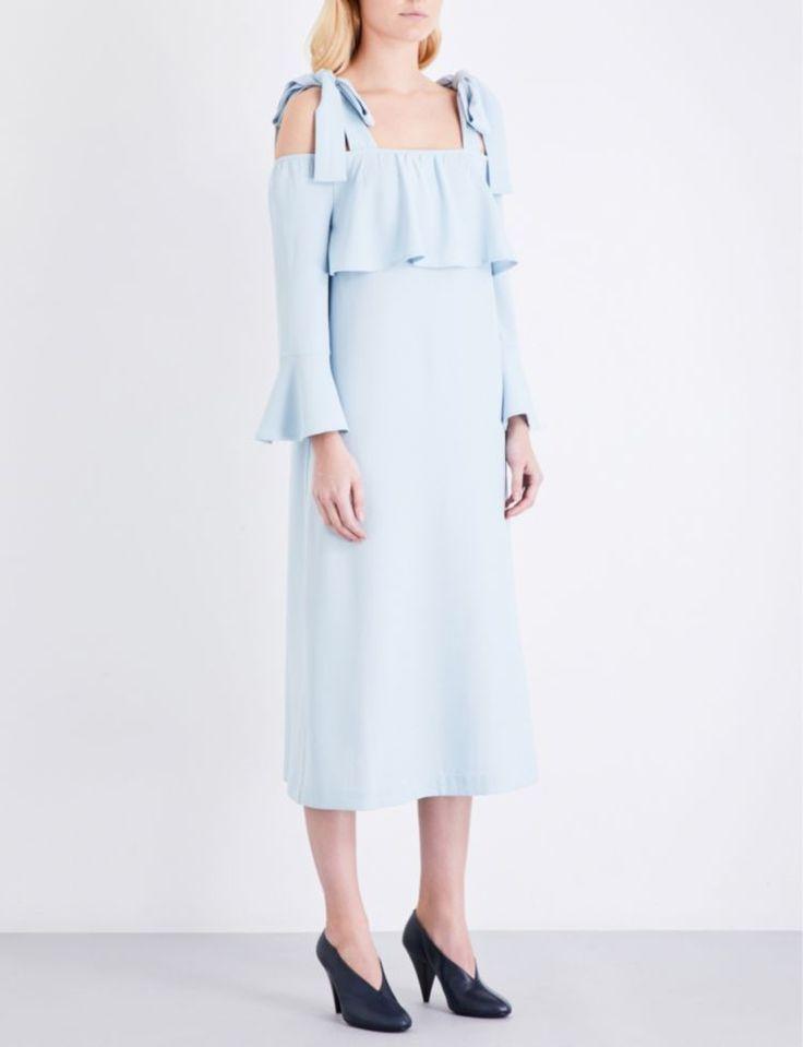 GANNI - Clark stretch-crepe cold-shoulder dress | Selfridges.com