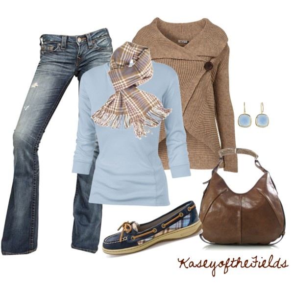 "Love the sweater ""Blue and Brown Plaid"" by kaseyofthefields on Polyvore"