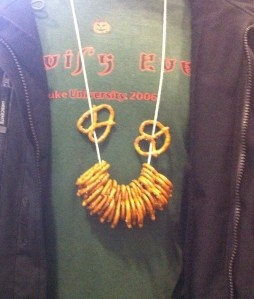 Caitie- Pretzel necklace for beer tasting.  We can cleanse our palate :)