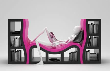 Bookshelf with a bench