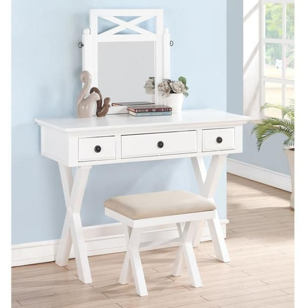 Poundex Furniture Attached Swival Mirror White Wood Vanity