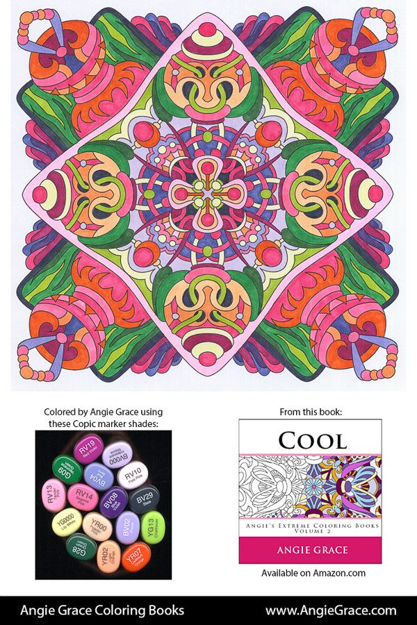 Angie Grace Coloring Books, colored by Angie with Copic Sketch markers. Color palette, colour schemes, shade list.