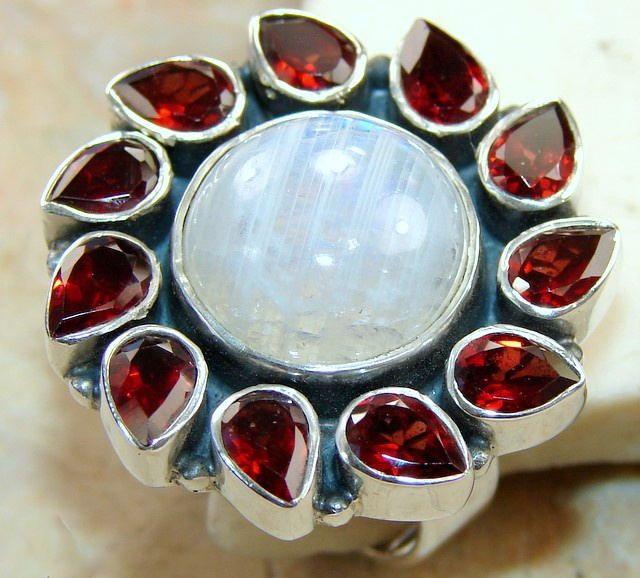 Rainbow Moonstone & Garnet Ring