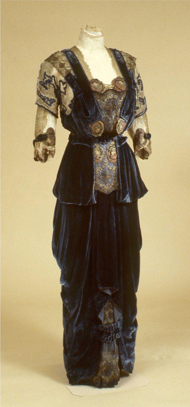 G. Giuseffi Dress and Jacket - 1910-15 - Design by Girolamo Giuseffi (American, 1864-1934) - Velvet, metallic lace - Indianapolis Museum of Art