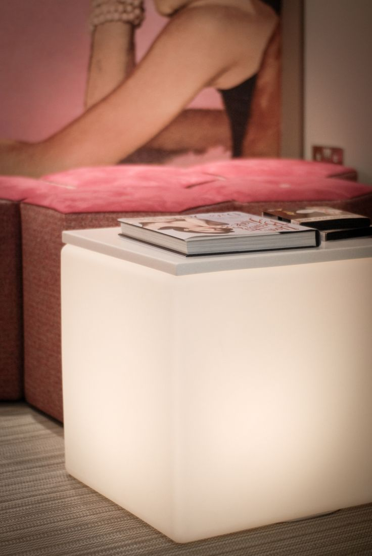 A light up cube provides a lovely glow whilst waiting for your treatment
