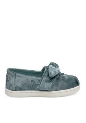 Toms Girls' Alpargata Bright Blue Velvet Tiny Toms Classic - Bright Blue - 11M Toddler