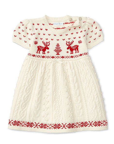 Reindeer Cable Sweater Dress - Baby Girl Dresses & Rompers - RalphLauren.com