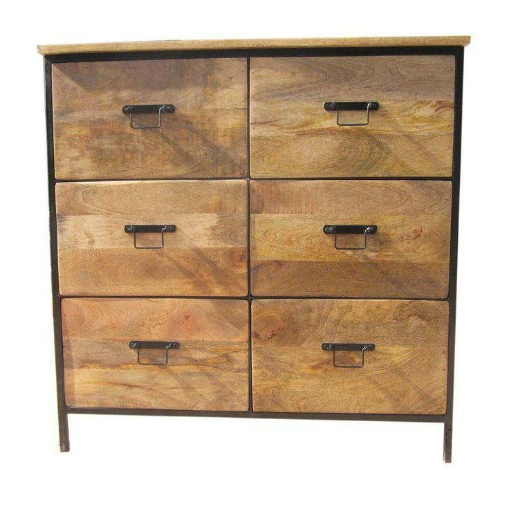 6 Drawer Chest Brown Drawers Storage Metal Wooden Living Room Hallway Furniture