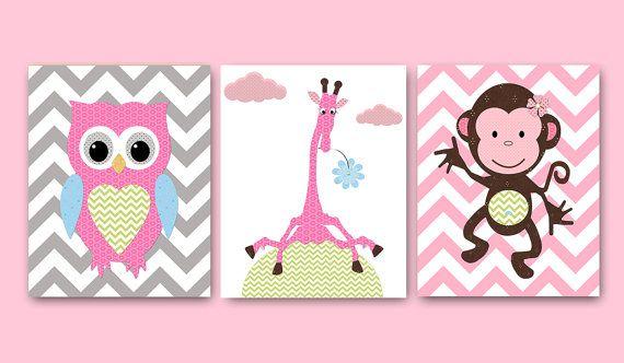Owl Nursery Monkey Nursery Giraffe nursery Baby by artbynataera, $60.00