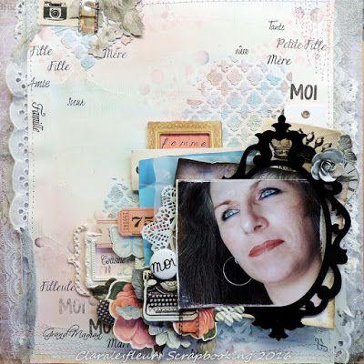 Claralesfleurs Scrapbooking 2016 - Page Journée de la femme avec étampes Famille #1, Famille #2, Texture Bulles, Journal Cadre #1 de Simple à Souhait et badge Accent Scrapbooking...