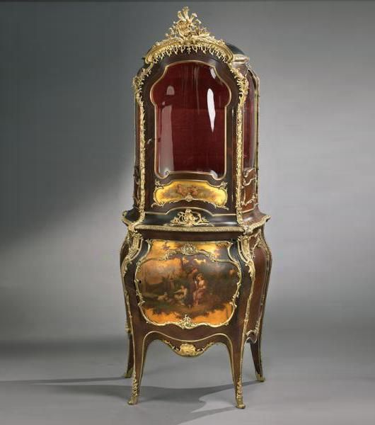 """Louis XV Style Vitrine Cabinet (close up of cabinet image in """"Elegant Gold and Ivory Board""""  A Very Fine French 19th Century Louis XV Style Tulipwood and Gilt-Bronze Mounted Vernis Martin Decorated Vitrine Cabinet. Circa: Paris, 1880"""