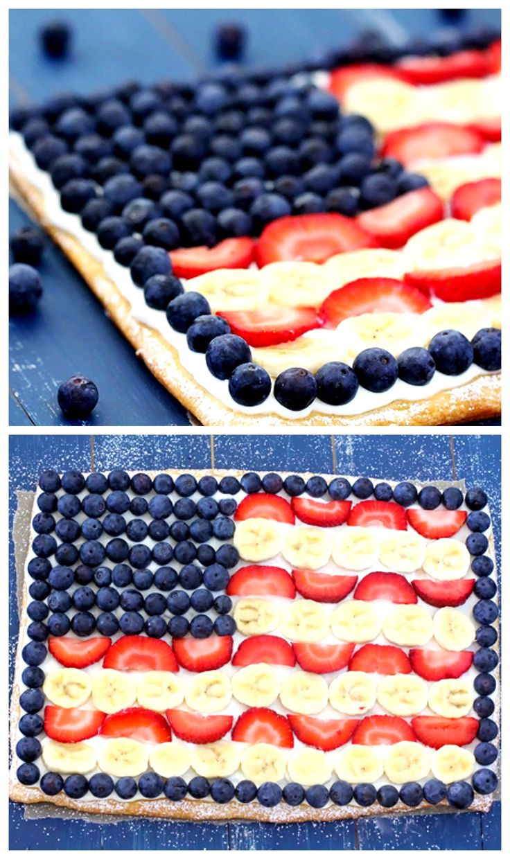 Easy Fruit Flag Pizza -- super simple to make, and a delicious way to celebrate the 4th of July | gimmesomeoven.com #dessert