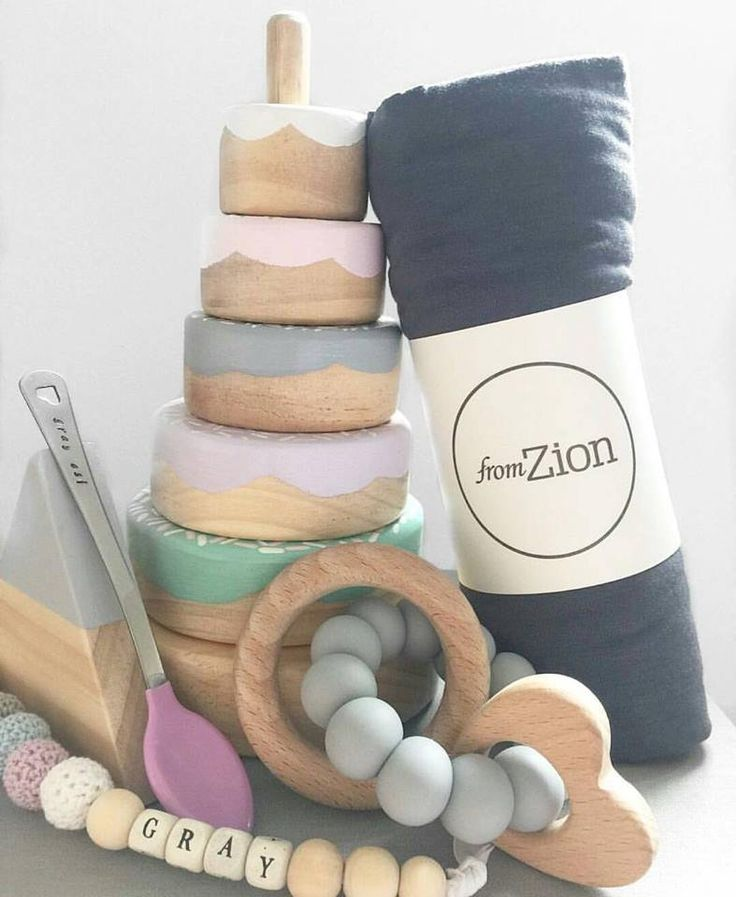 Wooden Donut Stacker - Pastel Perfect