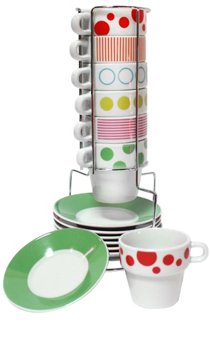 coffee cups and plates.