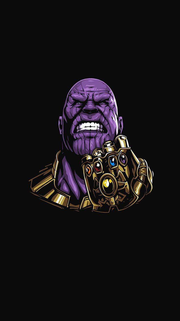 Thanos Black Minimal iPhone Wallpaper Marvel wallpaper