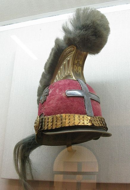 General Kolokotronis obtained this helmet when he served in the English army. He added the cross himself. ( the National Historical Museum, Athens, Greece)