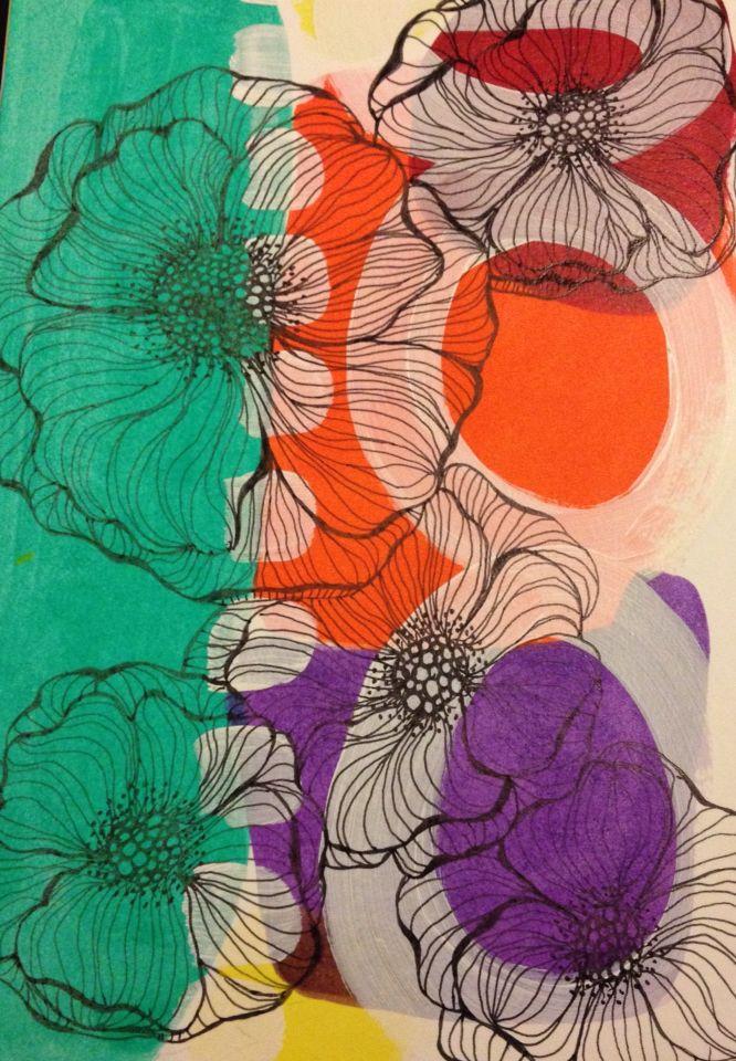 Sylvia Marris, Winter garden, acrylic and black pen