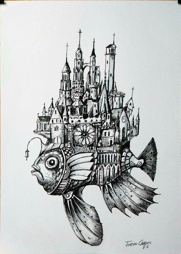 Jorge Campos, Arte. Plumilla, dibujo, surrealistas