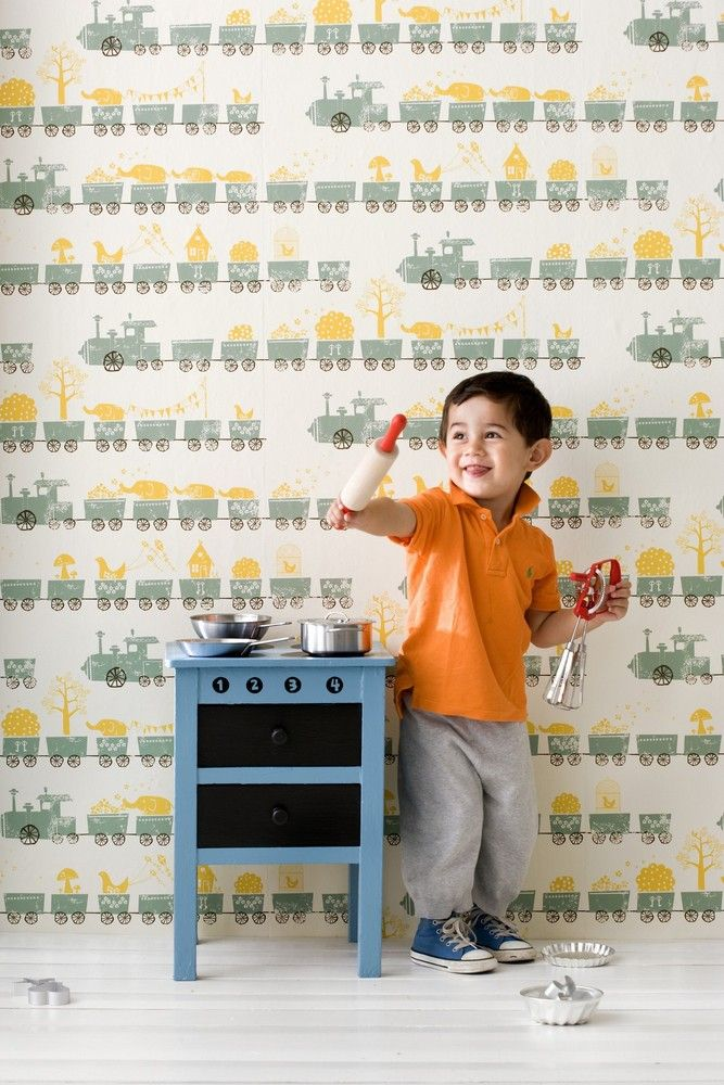 Printed on WallSmart wallpaper (non-woven fleece). WallSmart wallpaper is a new generation of non-woven wallpaper that is easier and faster to hang. When hanging the wallpaper, apply the paste to the wall and than hang the sections by butting the edges to,Tiny Train, Ferm Living, Ferm Kids, Wallpaper