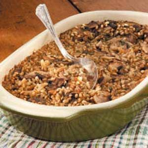Mushroom Barley Casserole Recipe -A dear friend shared this recipe with me years ago. My family enjoys it with meat dishes as a substitute for potatoes. It's great to take to a potluck for a dish to pass, but be prepared to also pass along the recipe! —Melba Cleveland, Groveland, California