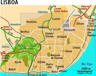 Vue globale de la ville de Lisbonne qui permet de localiser le quartier de Belém et le Parc des Nations