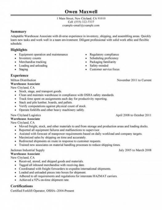 warehouse associate resume warehouse associate resume letter format