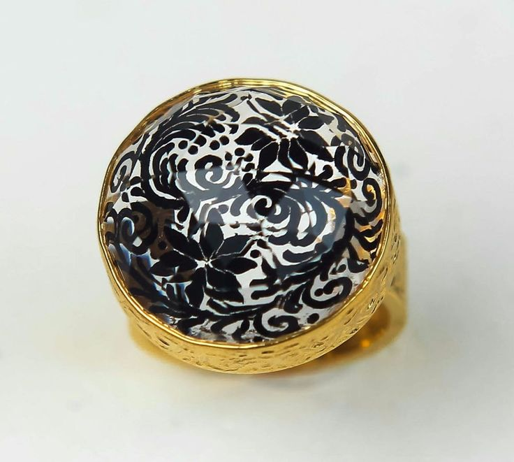 intaglio black flower quartz sterling silver gold plated ring, Greek jewelry #Dome #Engagement