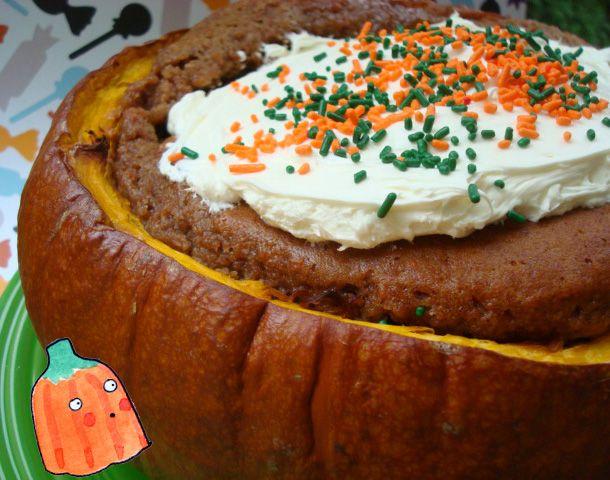 Pumpkin cake. In a pumpkin!