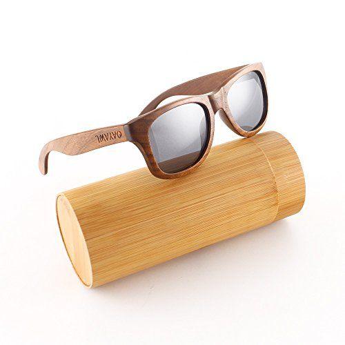 Oayawl fabriqué à la main en noyer naturel Lunettes de soleil Homme Femme Bois Lunettes de soleil polarisées rétro Wood objectif Cadre en…
