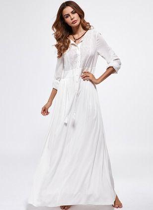 Baumwolle Solide Lange Ärmel Maxi Lässige Kleidung Kleider