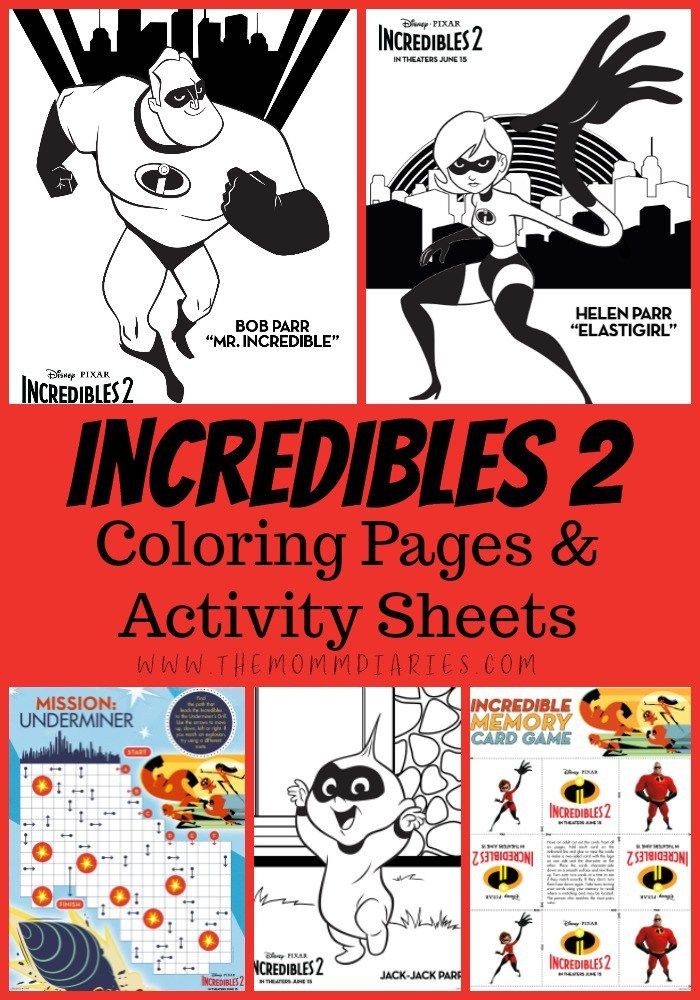 Incredibles 2 Coloring Pages And Activity Sheets Activity Sheets Printable Activities For Kids Coloring Pages