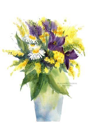 Flowers, watercolor, paper