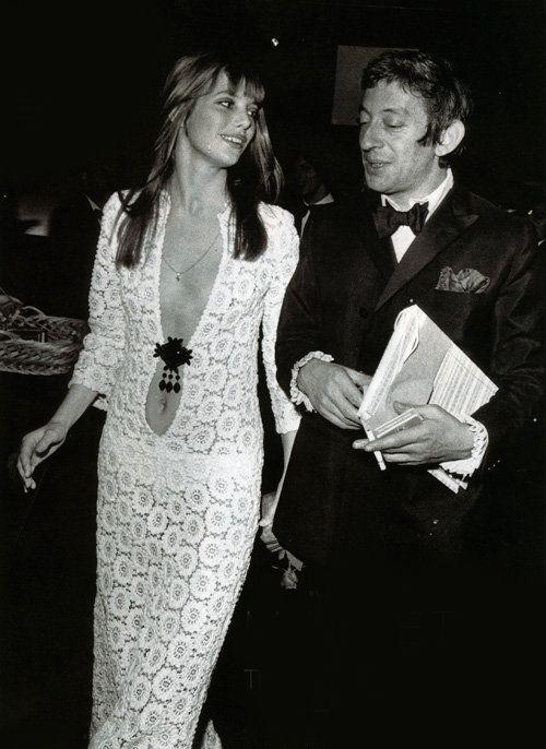 THAT DRESS. Serge Gainsbourg and Jane Birkin, 1970s.