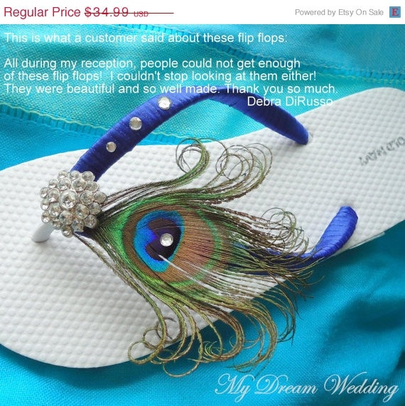 SUMMER SALE Peacock blue Flip flops with by MyDreamWedding on Etsy, $31.49