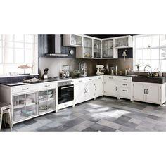 Meuble haut de cuisine ouverture droite en bois recyclé blanc L 66 cm