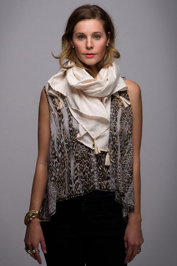 Ivory Textured Scarf with Gold Studs and Gold by WICKandPoppy, $74.32