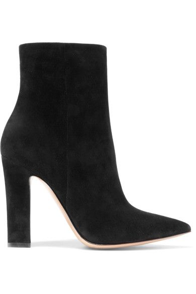 Heel measures approximately 105mm/ 4 inches  Black suede Zip fastening along side  Made in Italy