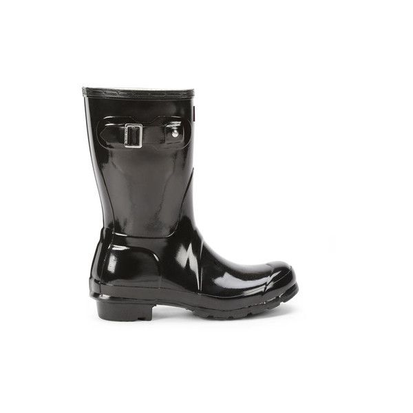 Hunter Women's Original Short Gloss Wellies - Black (£80) ❤ liked on Polyvore featuring shoes, boots, black, black boots, black rain boots, black buckle boots, black bootie boots and black rubber boots